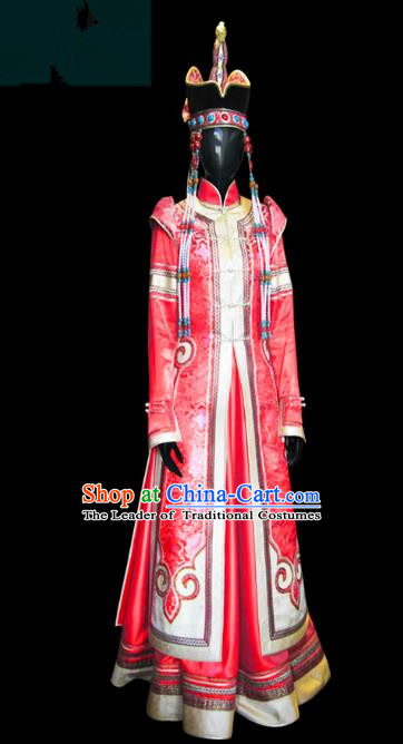 Traditional Chinese Mongol Nationality Wedding Costume Female Red Pleated Skirt, Chinese Mongolian Minority Nationality Princess Embroidery Costume for Women