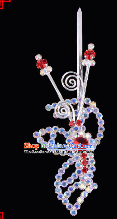 Traditional Beijing Opera Diva Hair Accessories Crystal Head Ornaments Hairpins, Ancient Chinese Peking Opera Hua Tan Hair Stick Headwear