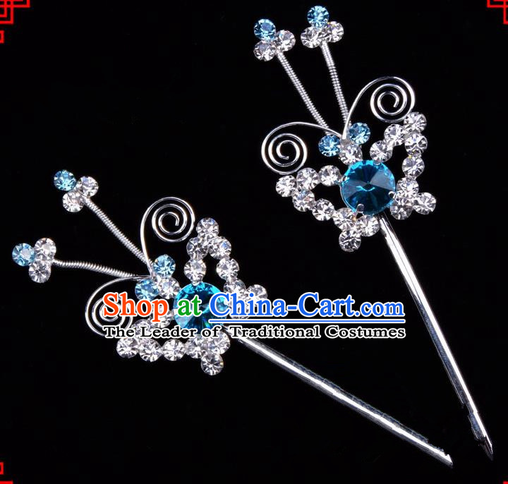 Traditional Beijing Opera Diva Hair Accessories Blue Crystal Butterfly Hairpins, Ancient Chinese Peking Opera Hua Tan Hair Stick Headwear