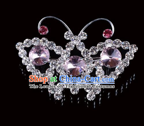 Traditional Beijing Opera Diva Jewelry Accessories Pink Crystal Brooch, Ancient Chinese Peking Opera Hua Tan Breastpin