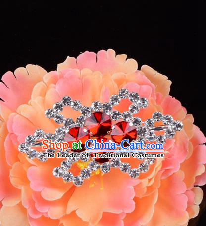 Traditional Beijing Opera Diva Jewelry Accessories Red Crystal Brooch, Ancient Chinese Peking Opera Hua Tan Breastpin