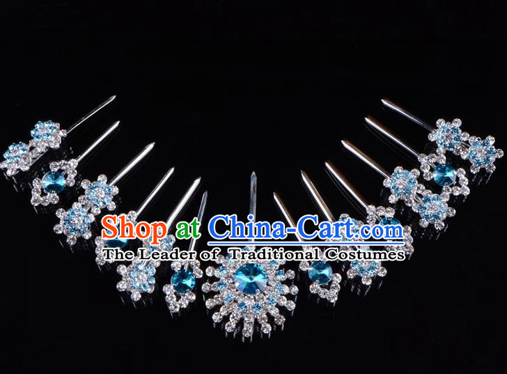Traditional Beijing Opera Diva Hair Accessories Blue Crystal Hairpins Head Ornaments Complete Set, Ancient Chinese Peking Opera Hua Tan Hair Stick Headwear