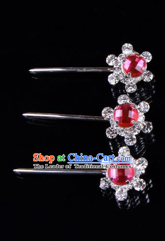 Traditional Beijing Opera Diva Hair Accessories Rosy Crystal Hair Stick, Ancient Chinese Peking Opera Hua Tan Hairpins