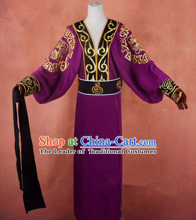 Top Grade Professional Beijing Opera Taoist Priest Costume Purple Embroidered Robe, Traditional Ancient Chinese Peking Opera Elder Zhang Guo Embroidery Clothing