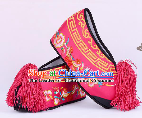 Traditional Beijing Opera Hua Tan Embroidered Shoes Young Lady Princess Shoes, Ancient Chinese Peking Opera Diva Peach Pink Blood Stained Shoes
