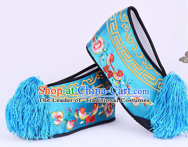 Traditional Beijing Opera Hua Tan Embroidered Shoes Young Lady Princess Shoes, Ancient Chinese Peking Opera Diva Deep Blue Blood Stained Shoes