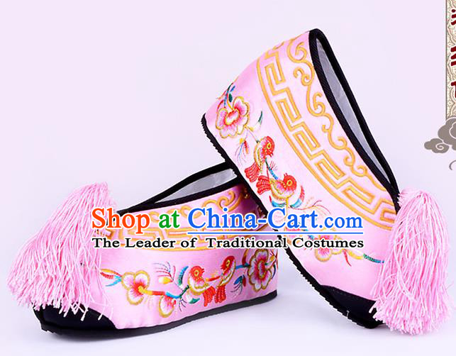 Traditional Beijing Opera Hua Tan Embroidered Shoes Young Lady Princess Shoes, Ancient Chinese Peking Opera Diva Pink Blood Stained Shoes