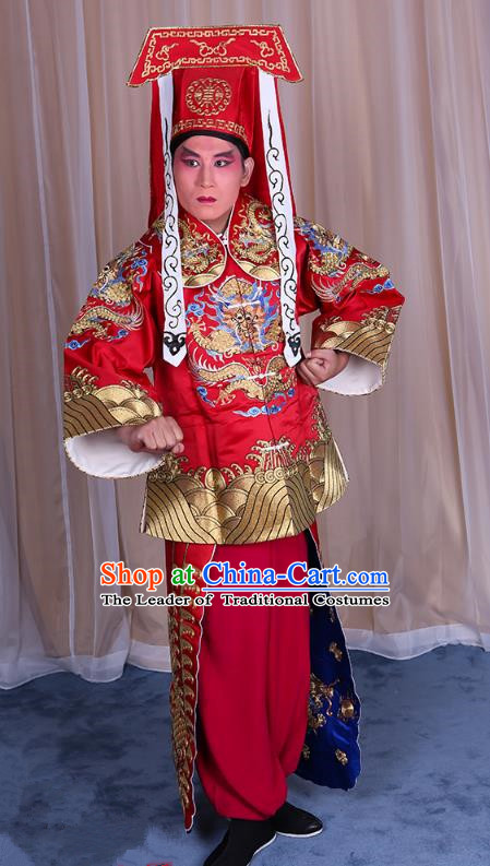 Traditional China Beijing Opera Takefu Red Silk Costume, Ancient Chinese Peking Opera Wu-Sheng Imperial Bodyguard Embroidery Gwanbok Clothing