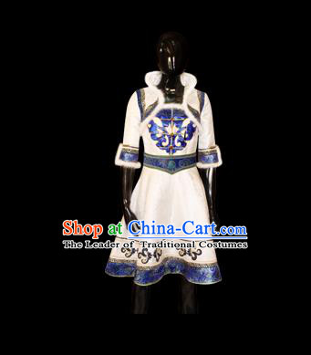 Traditional Chinese Mongol Nationality Dance Costume, Female Folk Dance Satin Mongolian Robe, Chinese Mongolian Minority Nationality Embroidery Costume for Women
