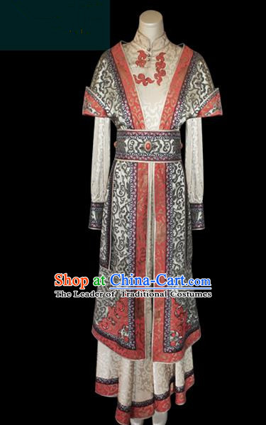 Traditional Chinese Mongol Nationality Dance Costume, Female Folk Dance Grey Satin Mongolian Robe, Chinese Mongolian Minority Nationality Embroidery Costume for Women
