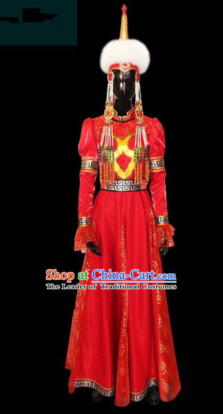Traditional Chinese Mongol Nationality Dance Costume Female Pleated Skirt, Chinese Mongolian Minority Nationality Princess Embroidery Costume for Women
