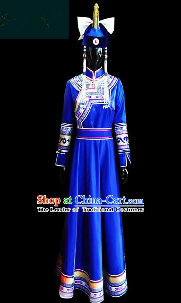 Traditional Chinese Mongol Nationality Dance Costume Female Blue Pleated Skirt, Chinese Mongolian Minority Nationality Princess Embroidery Costume for Women