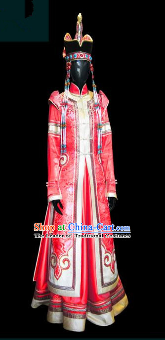 Traditional Chinese Mongol Nationality Dance Costume Female Red Mongolian Robe and Hat, Chinese Mongolian Minority Nationality Embroidery Clothing for Women