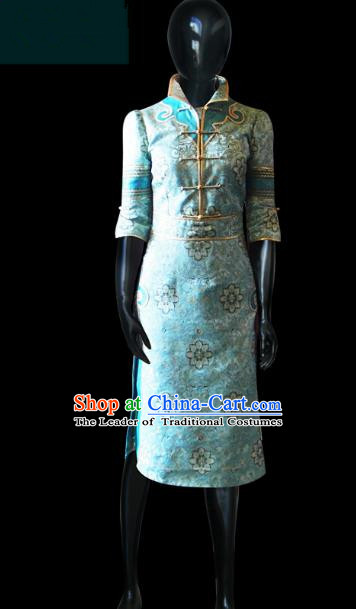 Traditional Chinese Mongol Nationality Dance Costume Female Mongolian Robe, Chinese Mongolian Minority Nationality Embroidery Clothing for Women