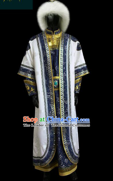 Traditional Chinese Mongol Nationality Dance Costume Mongolian Robe, Chinese Mongolian Minority Nationality Khan King Embroidery Costume for Men