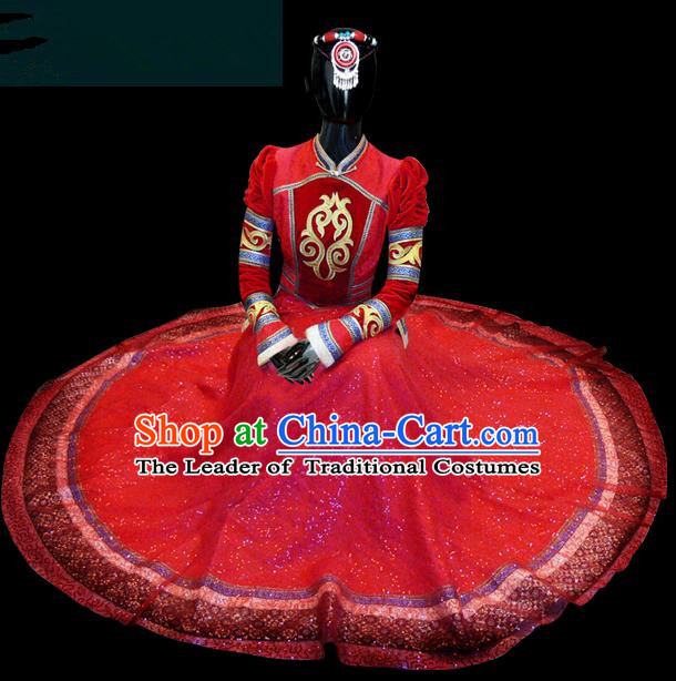 Traditional Chinese Mongol Nationality Dance Costume Queen Red Mongolian Robe, Chinese Mongolian Minority Nationality Princess Embroidery Wedding Clothing for Women