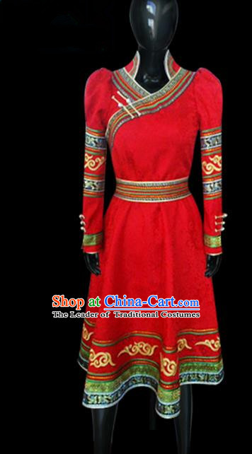 Traditional Chinese Mongol Nationality Dance Costume Red Mongolian Robe, Chinese Mongolian Minority Nationality Princess Embroidery Clothing for Women