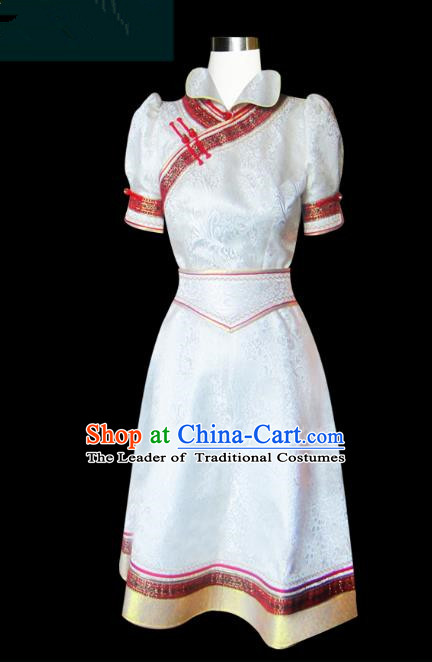 Traditional Chinese Mongol Nationality Dance Costume White Mongolian Robe, Chinese Mongolian Minority Nationality Princess Embroidery Clothing for Women