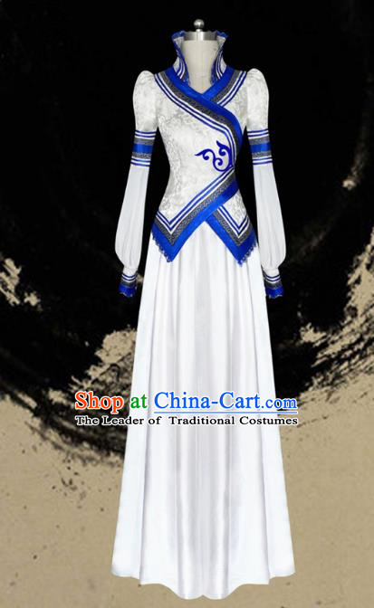 Traditional Chinese Mongol Nationality Dance Costume Female White Pleated Dress, Chinese Mongolian Minority Nationality Princess Embroidery Clothing for Women