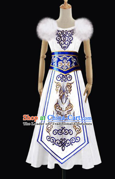 Traditional Chinese Mongol Nationality Dance Costume Female White Dress, Chinese Mongolian Minority Nationality Princess Mongolian Robe Embroidery Clothing for Women