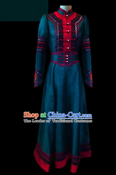 Traditional Chinese Mongol Nationality Dance Costume Female Green Dress, Chinese Mongolian Minority Nationality Princess Mongolian Robe Embroidery Clothing for Women