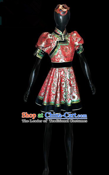 Traditional Chinese Mongol Nationality Dance Costume Red Full Dress, Chinese Mongolian Minority Nationality Princess Mongolian Robe Embroidery Clothing for Women