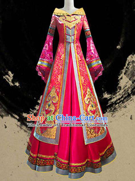 Traditional Chinese Mongol Nationality Dance Costume Female Rosy Pleated Skirt, Chinese Mongolian Minority Nationality Princess Embroidery Wedding Costume for Women