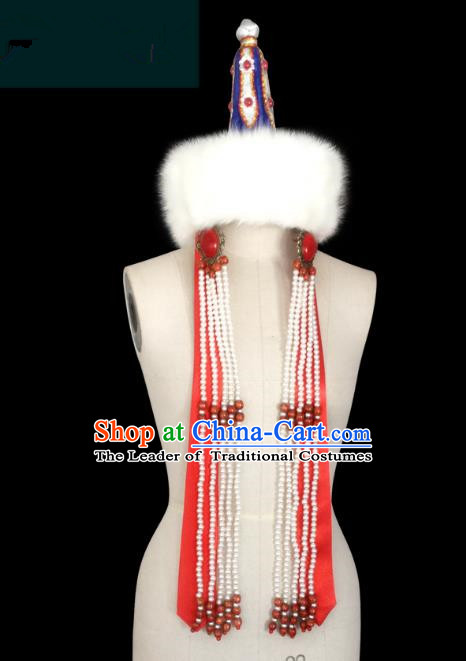 Traditional Chinese Mongol Nationality Hair Accessories Princess Beads Tassel Wool Red Hat, Chinese Mongolian Minority Nationality Headwear for Women
