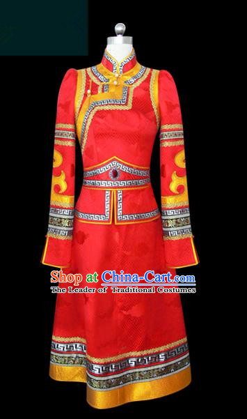 Traditional Chinese Mongol Nationality Dance Costume Young Lady Red Mongolian Robe, Chinese Mongolian Minority Nationality Princess Embroidery Wedding Costume for Women