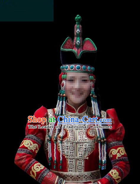 Traditional Chinese Mongol Nationality Bride Hair Accessories Queen Hat, Chinese Mongolian Minority Nationality Headwear for Women
