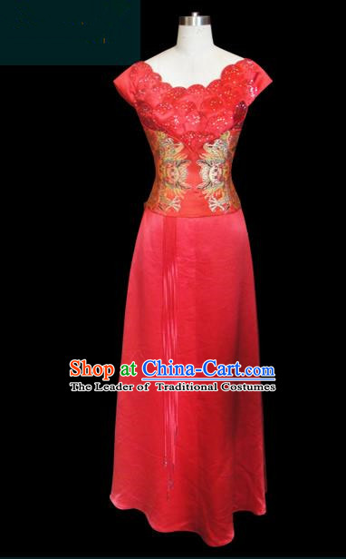 Traditional Chinese Modern Dancing Compere Performance Costume, Opening Classic Chorus Singing Group Dance Red Dress for Women