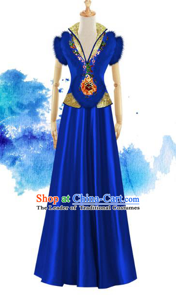 Traditional Chinese Modern Dancing Compere Performance Costume, Opening Classic Chorus Singing Group Dance Blue Dress for Women