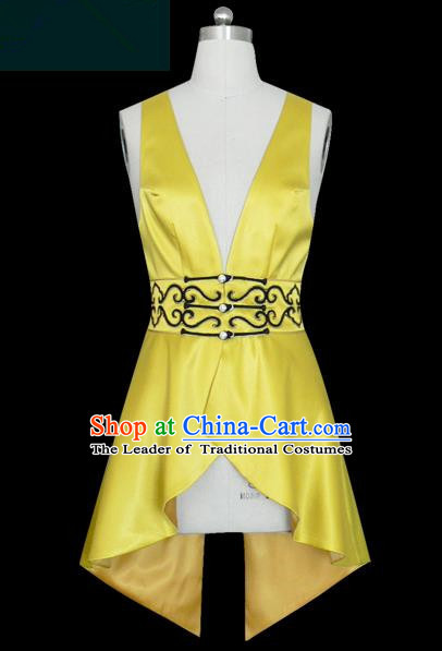Traditional Chinese Modern Dancing Compere Performance Costume, Opening Classic Chorus Singing Group Dance Yellow Vest for Women