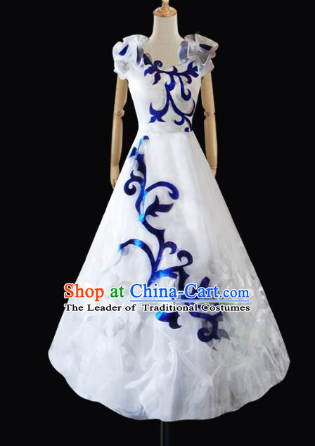 Traditional Chinese Modern Dancing Compere Performance Costume, Opening Classic Chorus Singing Group Dance White Veil Bubble Dress for Women