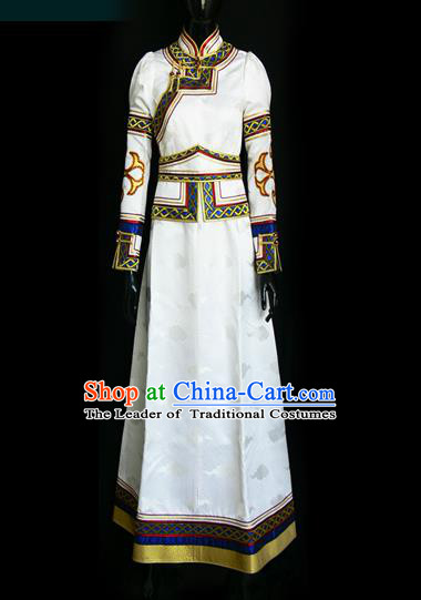 Traditional Chinese Mongol Nationality Costume Female White Mongolian Robe, Chinese Mongolian Minority Nationality Princess Embroidery Dress Clothing for Women