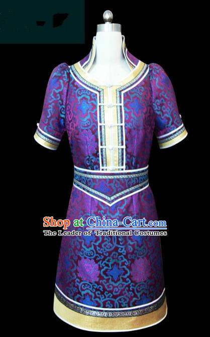Traditional Chinese Mongol Nationality Dance Costume Purple Short Mongolian Robe, Chinese Mongolian Minority Nationality Young Lady Embroidery Dress for Women