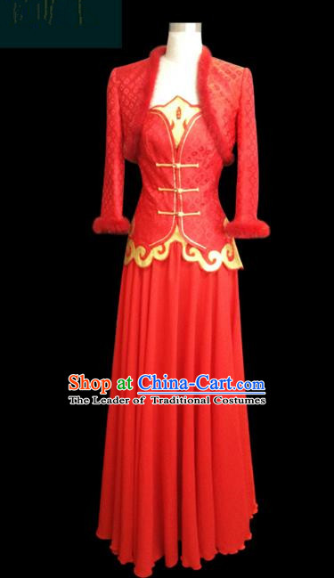 Traditional Chinese Mongol Nationality Dance Costume Red Wedding Mongolian Clothing, Chinese Mongolian Minority Nationality Young Lady Embroidery Dress for Women