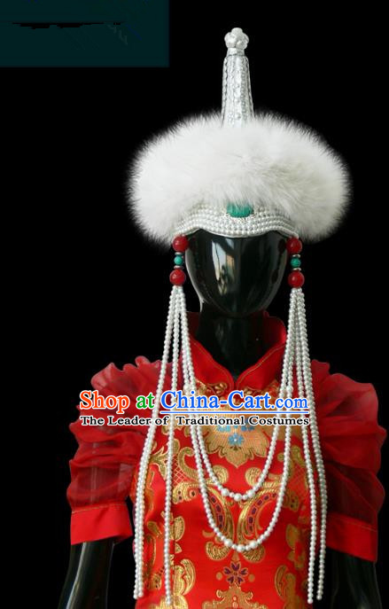 Traditional Chinese Mongol Nationality Princess White Wool Hat, Chinese Mongolian Minority Nationality Beads Tassel Headwear for Women