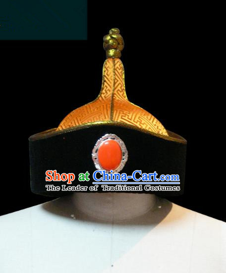 Traditional Chinese Mongol Nationality Men Hat, Chinese Mongolian Minority Nationality Royal Highness Headwear