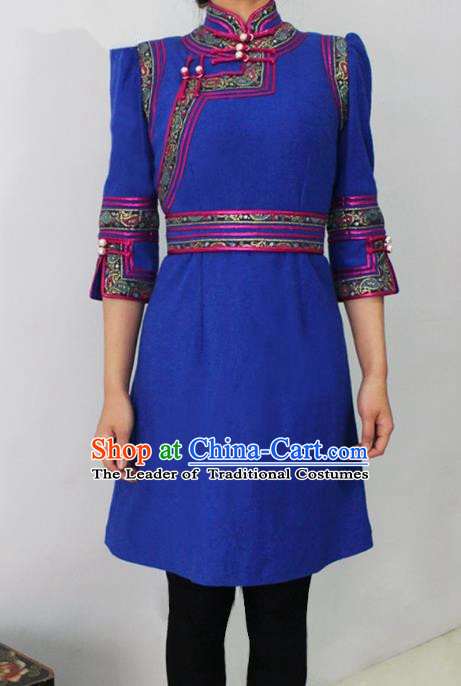 Traditional Chinese Mongol Nationality Dance Costume Middle Sleeve Blue Short Dress, Chinese Mongolian Minority Nationality Princess Mongolian Robe for Women