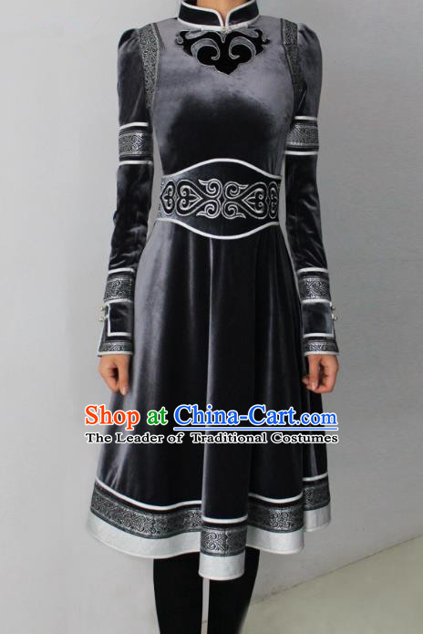 Traditional Chinese Mongol Nationality Dance Costume Black Pleuche Dress, Chinese Mongolian Minority Nationality Princess Mongolian Robe for Women