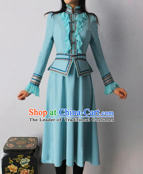 Traditional Chinese Mongol Nationality Dance Costume Blue Dress, Chinese Mongolian Minority Nationality Princess Mongolian Robe for Women