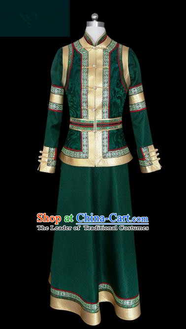 Traditional Chinese Mongol Nationality Dance Costume Green Mongolian Robe, Chinese Mongolian Minority Nationality Princess Embroidery Clothing for Women