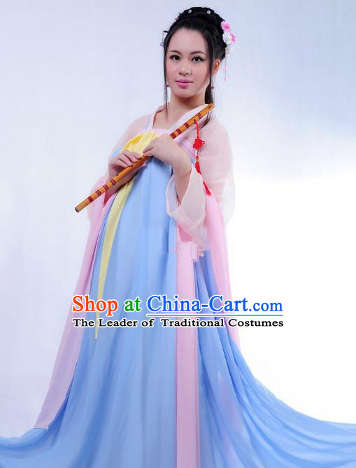 Traditional Ancient Chinese Young Lady Costume Embroidered Blouse and Skirt Complete Set, Elegant Hanfu Chinese Tang Dynasty Imperial Princess Clothing for Women