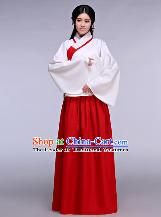 Traditional Ancient Chinese Young Lady Embroidered Costume Blouse and Skirt, Elegant Hanfu Chinese Ming Dynasty Imperial Princess Clothing for Women
