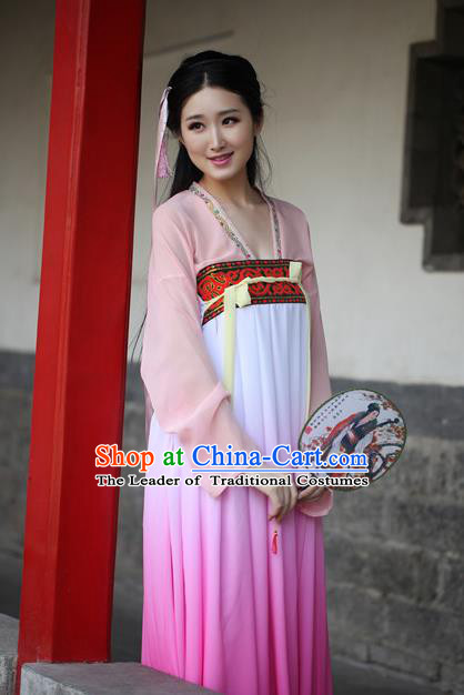 Traditional Ancient Chinese Palace Lady Embroidered Costume Blouse and Purple Slip Skirt, Elegant Hanfu Chinese Tang Dynasty Princess Dress Clothing for Women