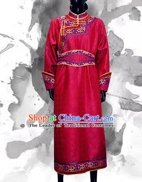 Traditional Chinese Mongol Nationality Dance Wedding Costume, Chinese Mongolian Minority Nationality Bridegroom Mongolian Robe for Men