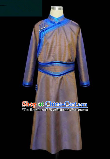 Traditional Chinese Mongol Nationality Costume, Chinese Mongolian Minority Nationality Royal Highness Mongolian Robe for Men
