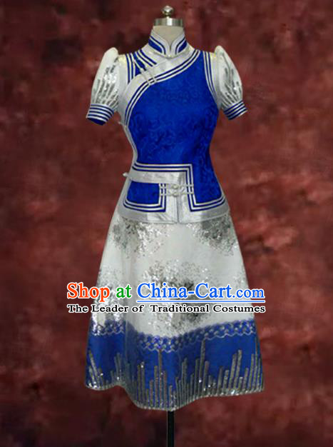 Traditional Chinese Mongol Nationality Costume Blue Short Dress, Chinese Mongolian Minority Nationality Princess Mongolian Robe for Women