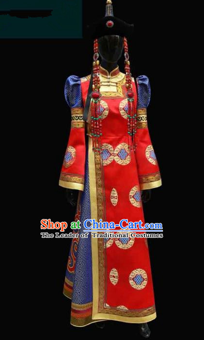 Traditional Chinese Mongol Nationality Costume Queen Wedding Full Dress, Chinese Mongolian Minority Nationality Bride Red Mongolian Robe for Women